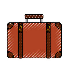 scribble suitcase cartoon vector image
