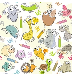 Seamless pattern with kids drawings of animals vector
