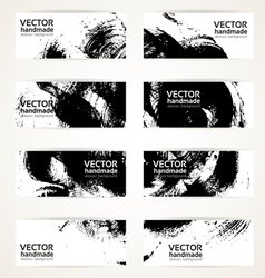 Set of abstract black drawn by brush banner vector image vector image