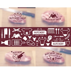 Set of labels templates and logo of butchery shop vector image