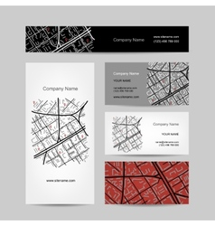 Sketch of city map business card design vector image