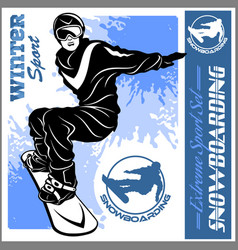 snowboarding emblem man on light vector image
