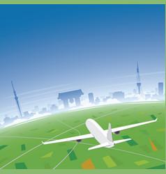 tokyo skyline flight destination vector image