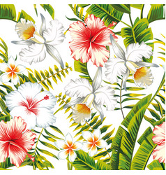 Tropical seamless white background vector