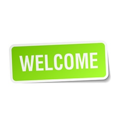 Welcome green square sticker on white background vector