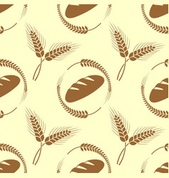 Wheat ears and bread seamless pattern vector