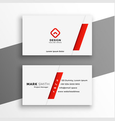 White and red business card elegant design vector
