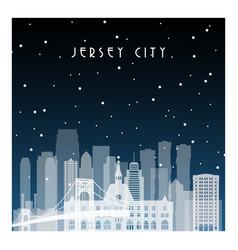 winter night in jersey city night city vector image