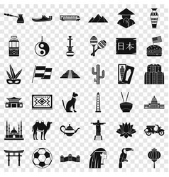 World food icons set simple style vector