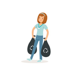 Young girl carrying two black bags with rubbish vector