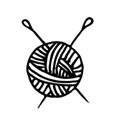 ball of yarn and knitting needles vector image vector image