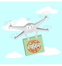 Funny drone pizza vector