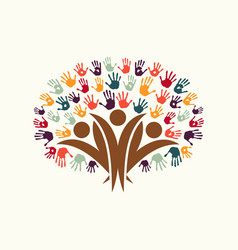 hand print people tree symbol for community help vector image vector image