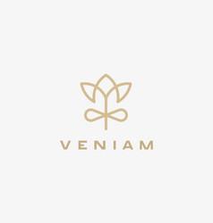 Linear flower gift logo design elegant crown vector