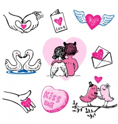 set of nine valentine icons vector image vector image