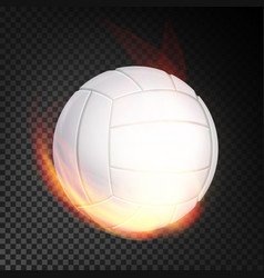 volleyball ball in fire realistic burning vector image vector image