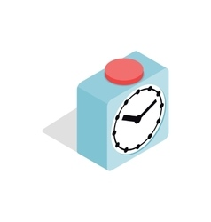 Clock with red button icon isometric 3d style vector image vector image
