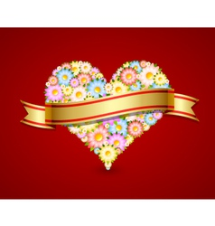 floral heart with ribbon vector image vector image