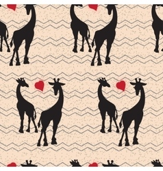 Seamless vintage pattern with giraffe vector image