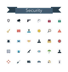Security Flat Icons vector image vector image