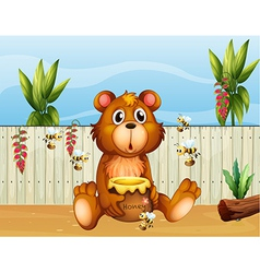 A bear with five bees vector image vector image