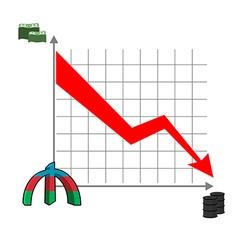 Azerbaijani manat money falls Falling of rate of vector image