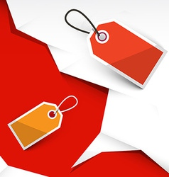 Crumpled Papers and Paper Labels on Red Background vector image