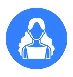 Curly girl icon black single avatarpeaople icon vector