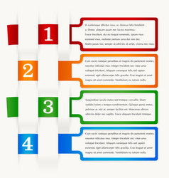 Infographics four steps different colors vector