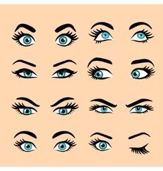 Set of cartoon eyes 2 vector image vector image