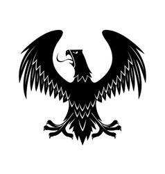 Black eagle with extended wings heraldic icon vector image