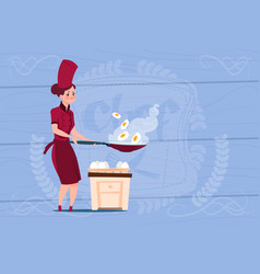 female chef cook frying eggs cartoon chief in vector image