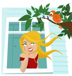 girl at window vector image vector image