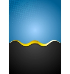 Grunge blue background with golden wave vector image