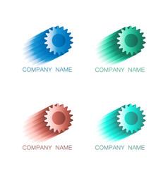 logo symbols cogwheel in colors vector image vector image