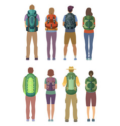 man and woman standing with backpack outdoor vector image vector image