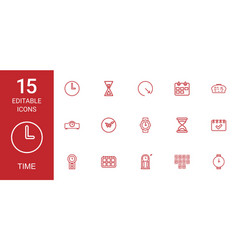 15 time icons vector image