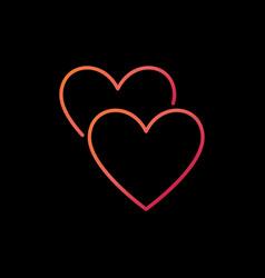 2 hearts line colored icon love concept vector image