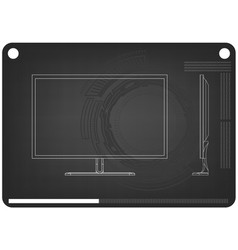 3d model of the monitor on a black vector image