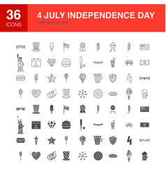 4 july line web glyph icons vector image