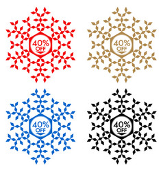 40 off discount sticker snowflake 40 off sale vector image