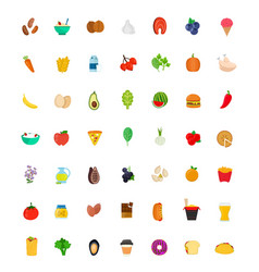 49 food and drink icon set flat vector image