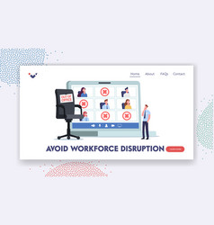 Absence work management landing page template vector