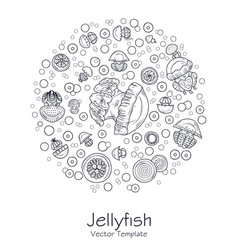 abstract picture with cartoon jellyfish vector image
