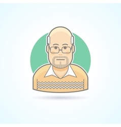 Bald man with glasses in a sweater icon vector