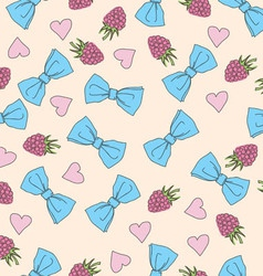 Beautiful seamless pattern with bows and hearts vector