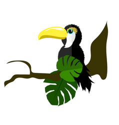 Bird toucan made of paper vector