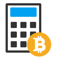 Bitcoin calculator flat icon vector