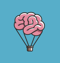 brain like hot air balloon free mind imagination vector image