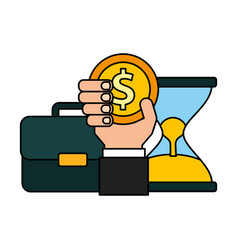 Business briefcase hourglass coins money vector